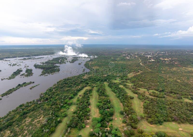 Pluim van beroemde Victoria Falls in Zimbabwe stock foto