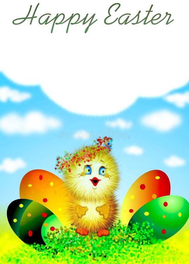 Pluizig Pasen-kuiken stock illustratie