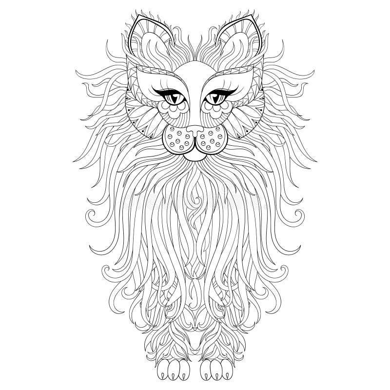 Pluizige Kat, zentangle stijl Schets uit de vrije hand voor volwassen antistres stock illustratie