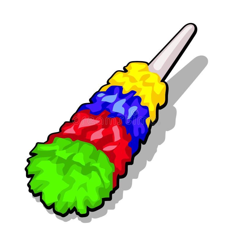 Pluizige kleurrijke stofdoekborstel die het stof schoon te maken op een witte achtergrond wordt geïsoleerd Vector illustratie stock illustratie