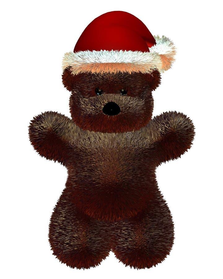 Pluizige Teddybeer met de Hoed van de Kerstman van Kerstmis royalty-vrije illustratie