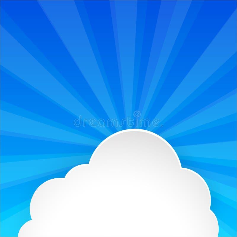 Pluizige wolk op heldere blauwe hemel stock illustratie