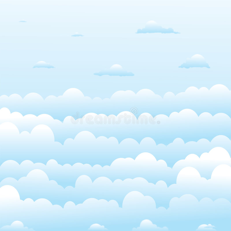 Pluizige wolken stock illustratie