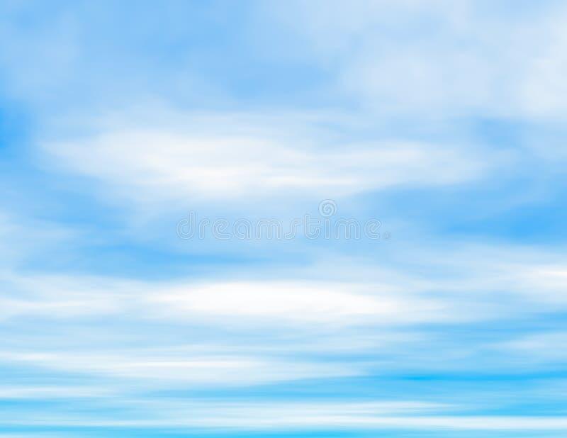 Pluizige wolken en blauwe hemel vector illustratie