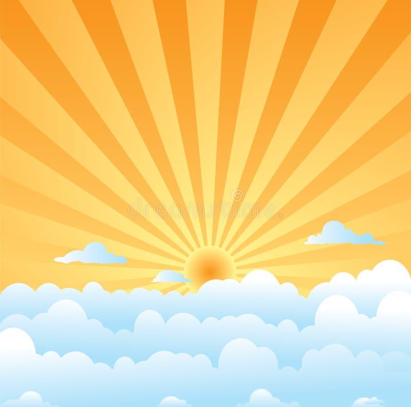 Pluizige wolkenzon stock illustratie