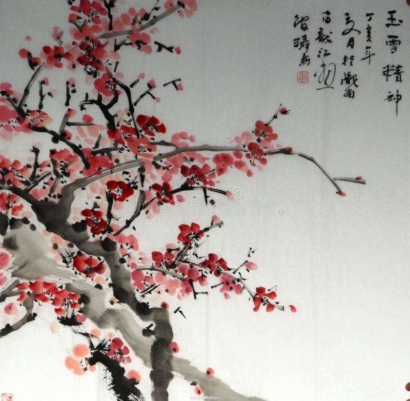 Plum. Chinese paintings feature the works! Ha ha royalty free stock photo