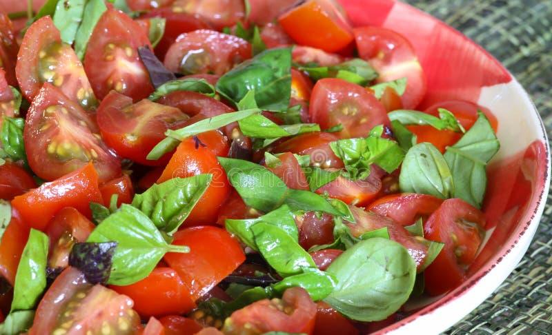 Plum Baby Tomato Salad With Basil Gingham Plate fotografering för bildbyråer