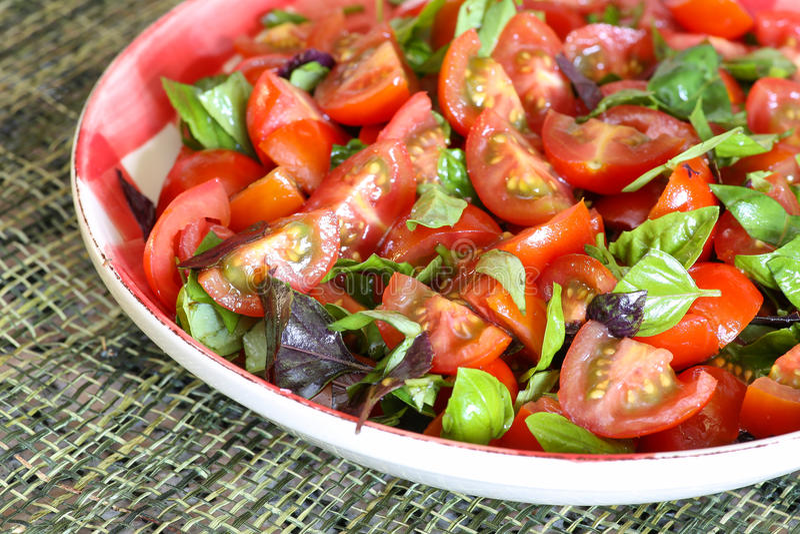 Download Plum Baby Tomato Salad With Basil Gingham Plate Imagen de archivo - Imagen de almuerzo, albahaca: 41909583