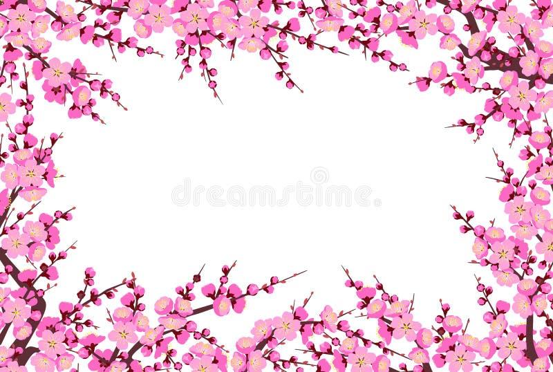 Plum Blossom Branches Horizontal Frame ilustração stock