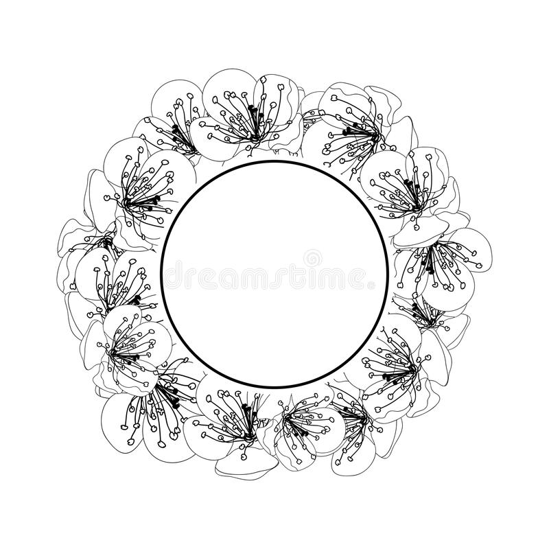 Plum Blossom Flower Banner Wreath Outline isolated on White Background. Vector Illustration royalty free illustration