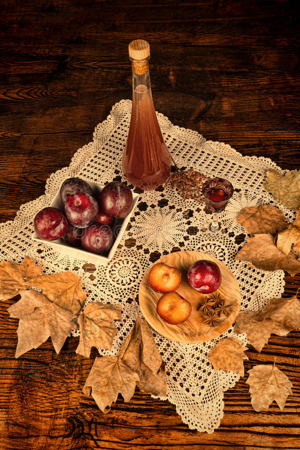 Plum brandy and ingredients royalty free stock photos