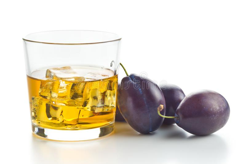 Plum brandy and plums. Slivovitz. royalty free stock photo