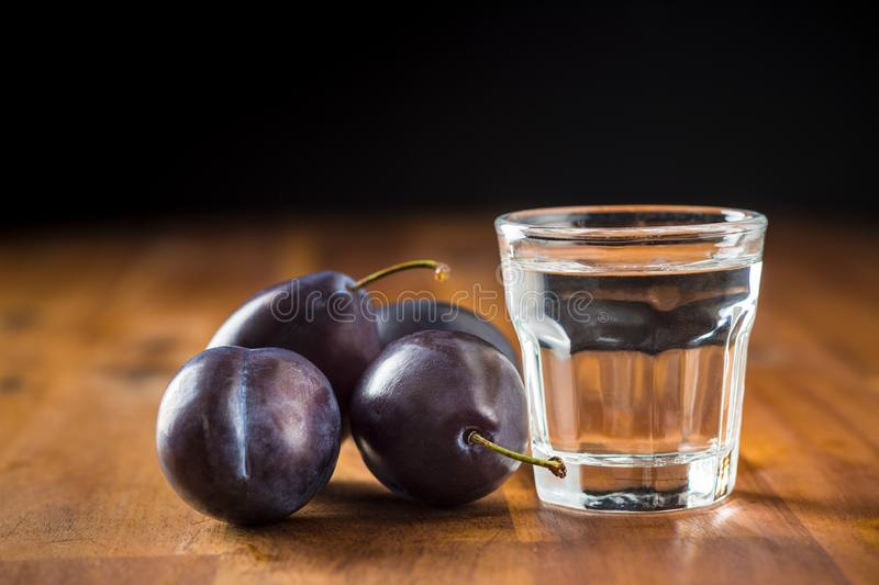 Plum brandy and plums. Slivovitz. stock photography