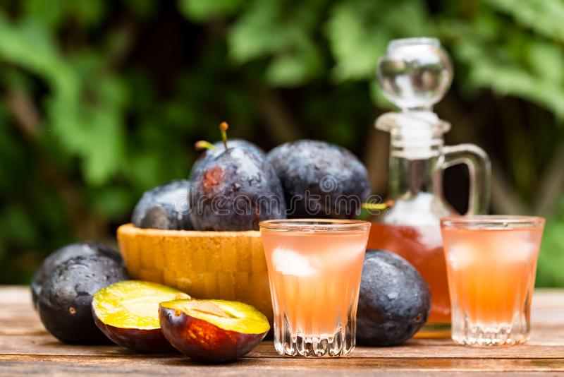 Plum brandy or slivovitz with fresh ripe plums. Close up plum liqueur or slivovitz, plum rakia with fresh and tasty plums in wooden bowl on wooden background stock photo