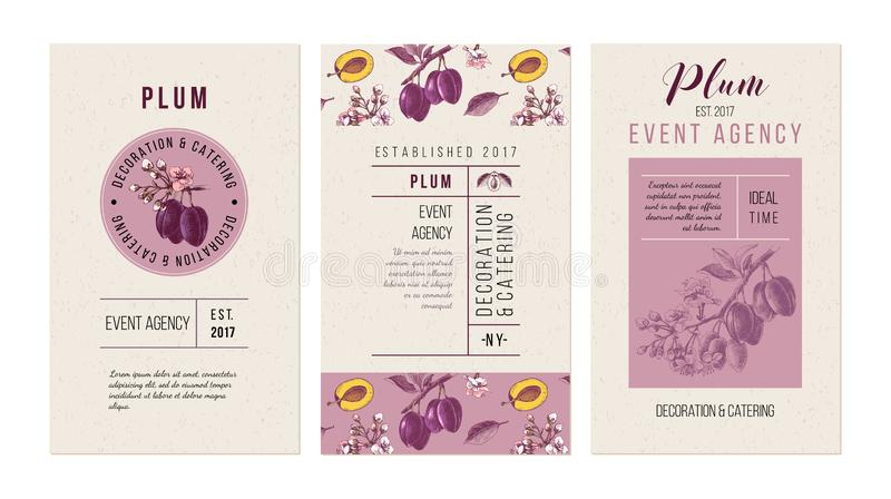 Plum event agency banners. Template with hand drawn plums. royalty free illustration