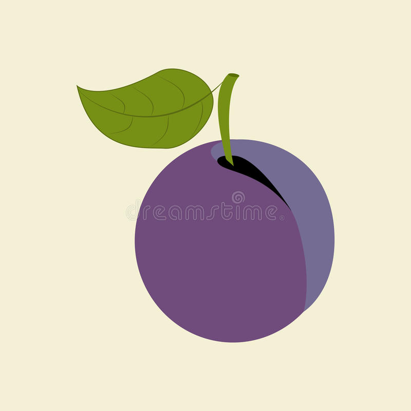 Plum Fruit Icon stock illustrationer