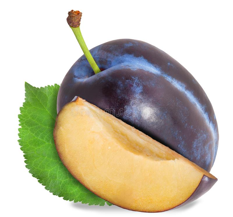 Plum and half of fruit on a white. File contains clipping paths. Plum and half of fruit on a white. File contains clipping paths stock photography