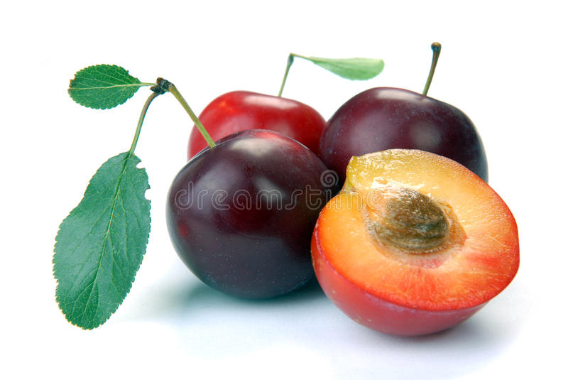 Plum and a half and leaves royalty free stock photography
