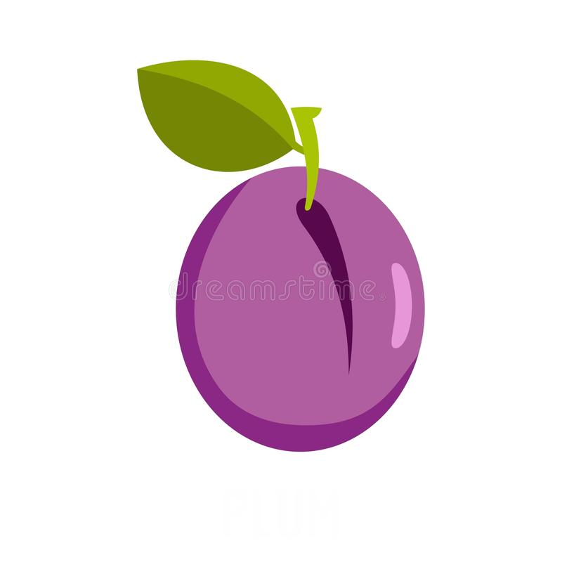 Plum icon, flat style vector illustration