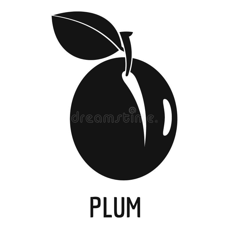 Plum icon, simple style. stock illustration