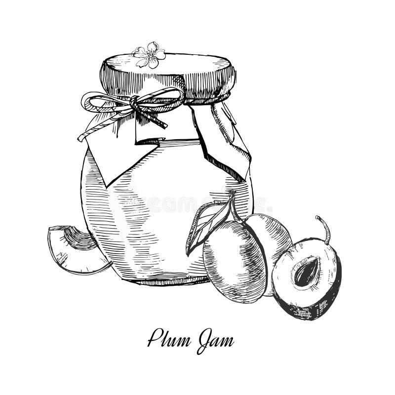 Plum Jam Hand getrokken illustratie Inktschets van het inblikken van pruim, op witte achtergrond wordt geïsoleerd die royalty-vrije illustratie
