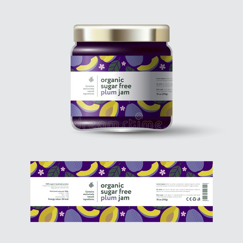 Free Plum Jam Label And Packaging. Jar With Cap With Label. Stock Photos - 198452063