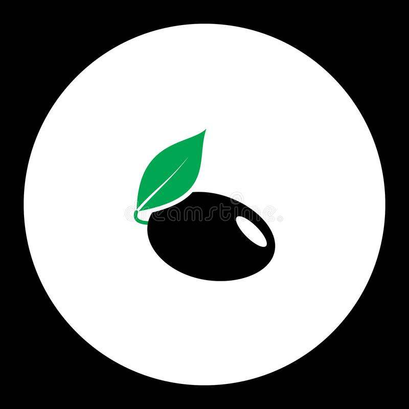 Plum with leaf fruit simple black and green icon eps10 royalty free illustration