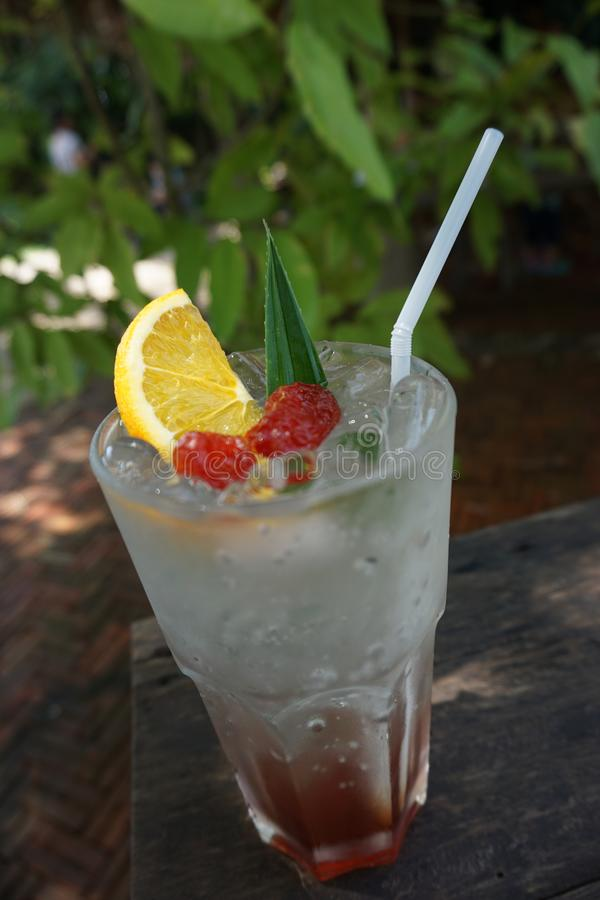 Plum lime soda at Sawanbondin farm, chiangrai, Thailand. Yellow plum lime soda at Sawanbondin farm, chiangrai, Thailand is so fresh stock images