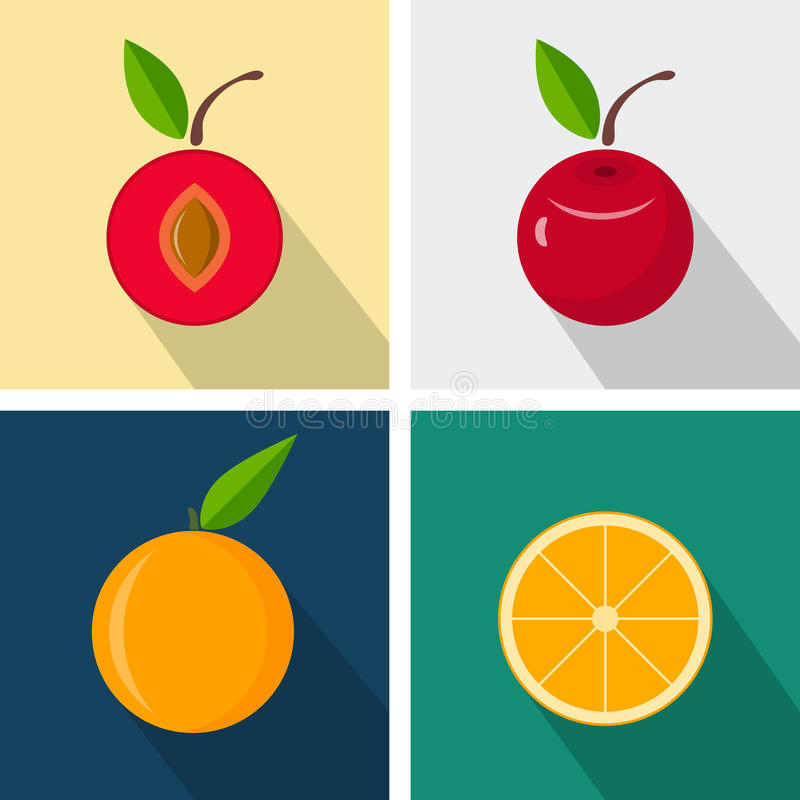 Plum and orange. Colorful flat design. Fruits with long shadow royalty free illustration