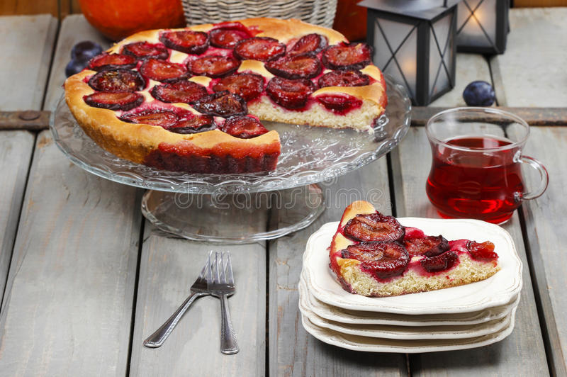 Download Plum Pie In Autumn Party Setting Stock Image - Image of autumn, fall: 38823433