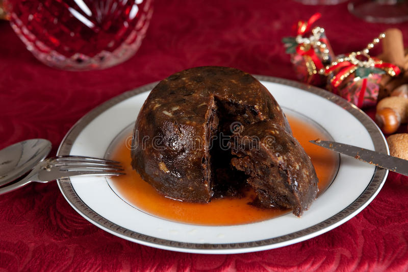 Plum pudding with brandy stock photos