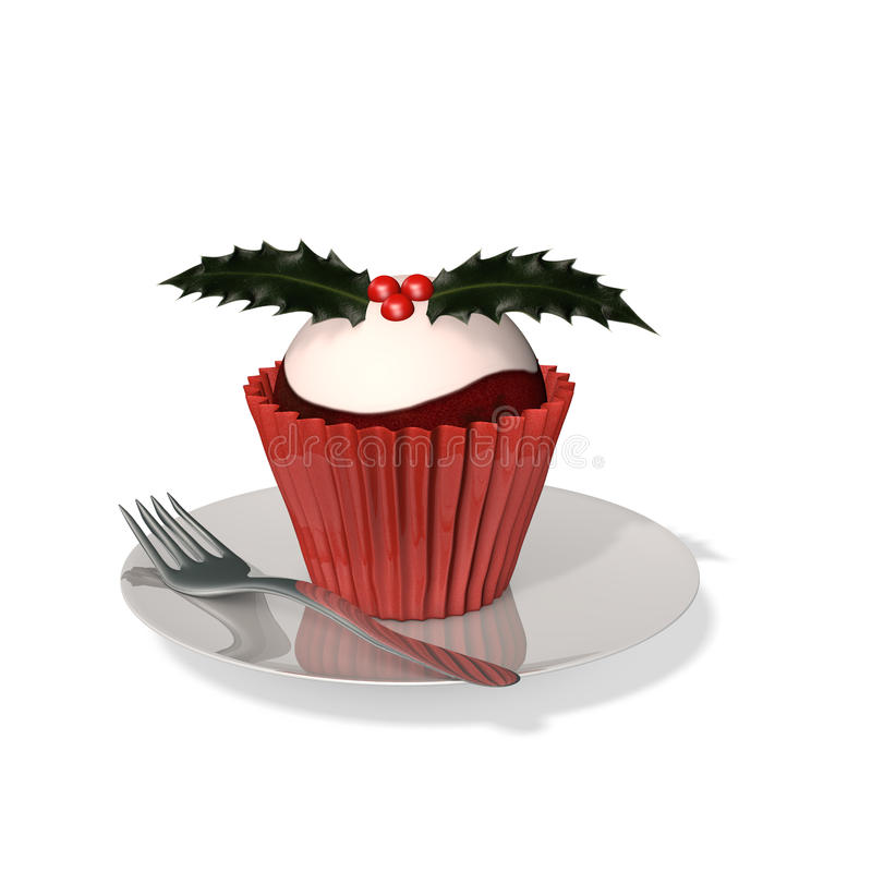Plum Pudding Cupcake illustration stock