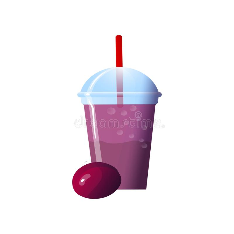Plum smoothies in a cup. Superfoods and health or detox diet food concept in sketch style. Vector illustration of different food products on white royalty free illustration