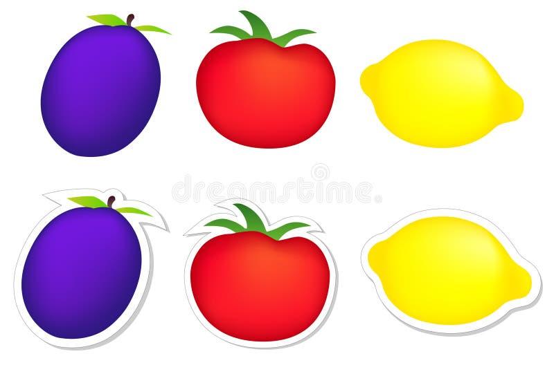 Plum, tomato, lemon stock photos