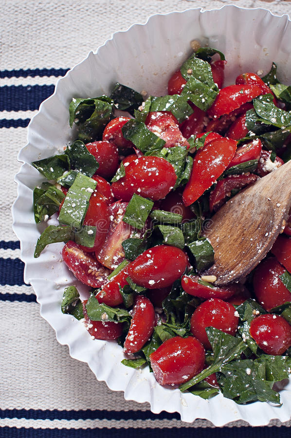 Plum tomato and spinach salad royalty free stock images