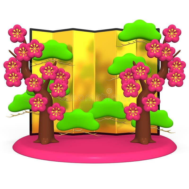 Plum Trees And Gold Folding-het Scherm royalty-vrije illustratie
