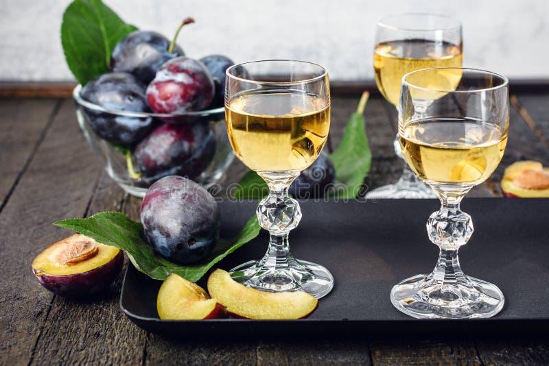 Plum vodka imagens de stock royalty free