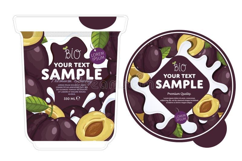 Plum Yogurt Packaging Design Template stock de ilustración