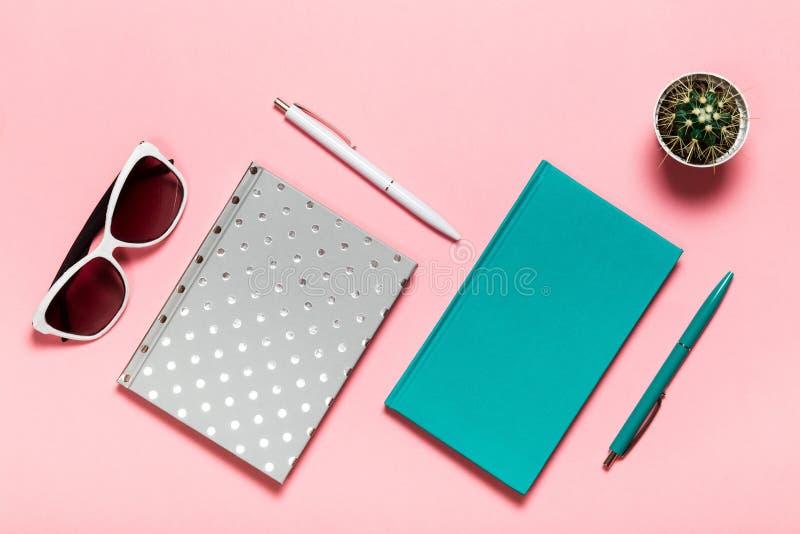 Pluma blanca y azulverde, vidrios, cuaderno plateado, diario de la aguamarina, cactus en fondo rosado Endecha plana, visión super foto de archivo libre de regalías