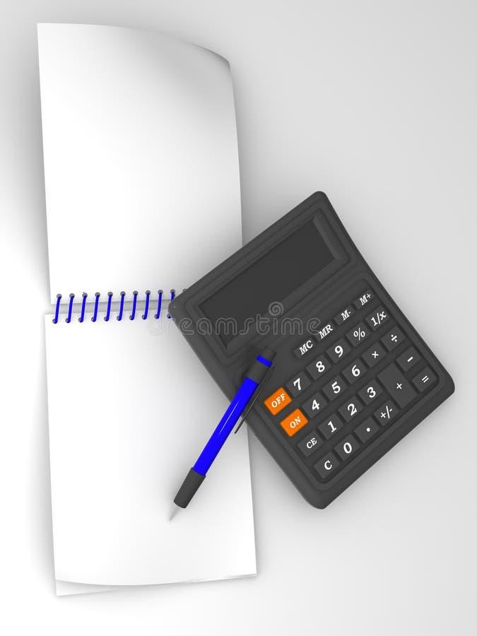 Pluma, calculater y blocknote stock de ilustración
