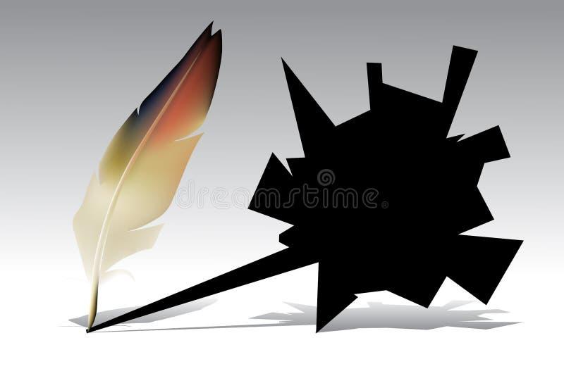 Pluma, canilla ilustración del vector