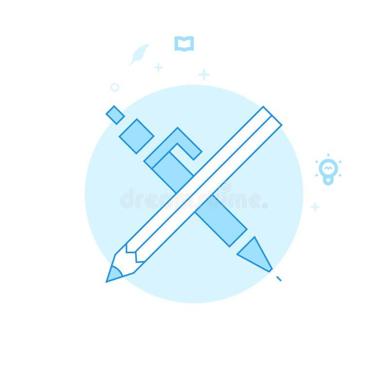 Pluma cruzada y dibujar a lápiz el ejemplo plano del vector, icono Diseño monocromático azul claro Movimiento Editable libre illustration
