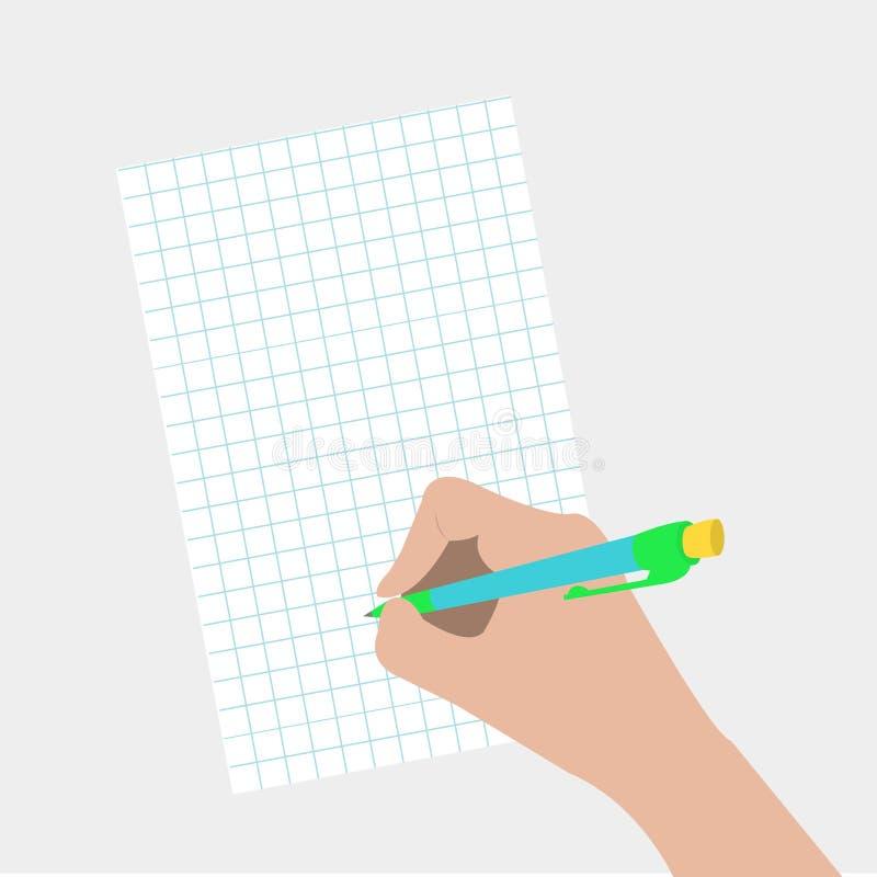 Pluma de dibujo de la escritura de la mano Mujer que sostiene el lápiz stock de ilustración