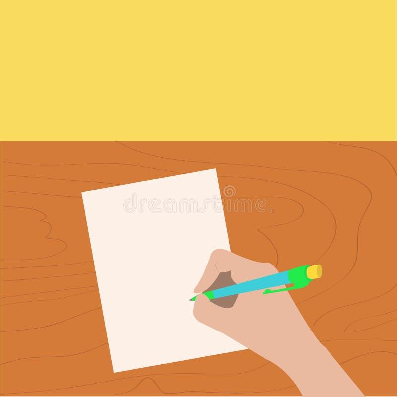 Pluma de dibujo de la escritura de la mano Mujer que sostiene el lápiz Hoja de papel Tabla de madera del escritorio stock de ilustración