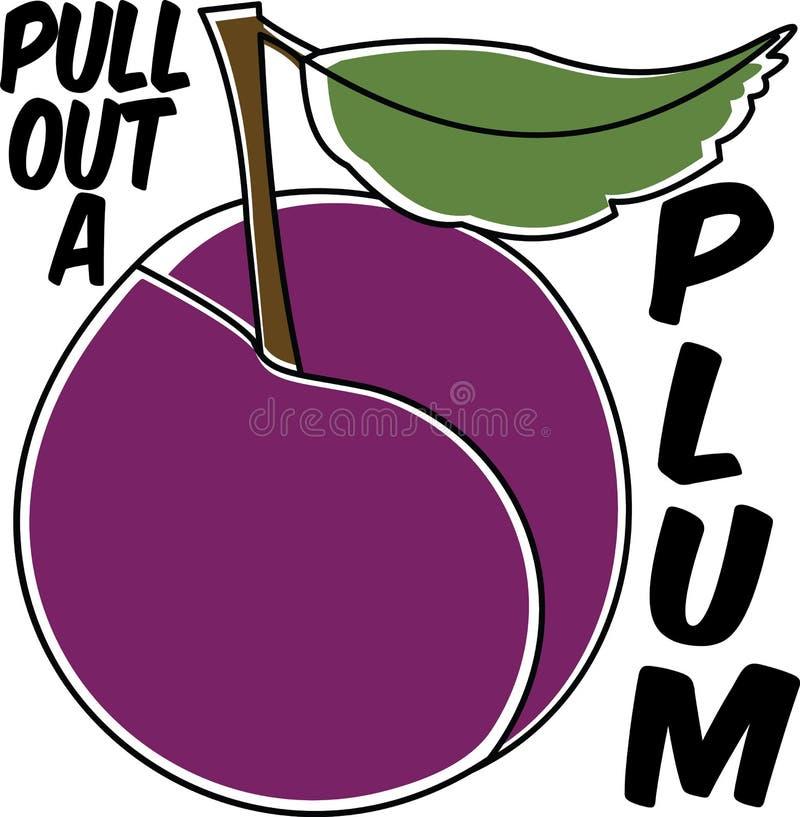 Pluma de frutas púrpura vectorial en un afiche de ilustraciones divertidas y sanas blancas libre illustration