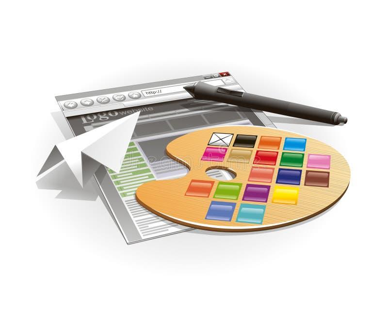 Pluma de la gama de colores y de la tablilla libre illustration