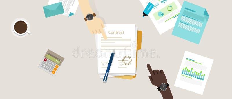 Pluma de la mano del acuerdo de contrato del trato del papel de la muestra en el escritorio ilustración del vector