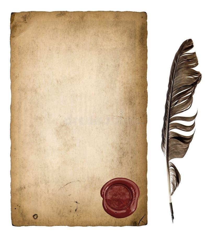 Pluma de papel de la pluma de la tinta del sello de la cera de la hoja imagenes de archivo