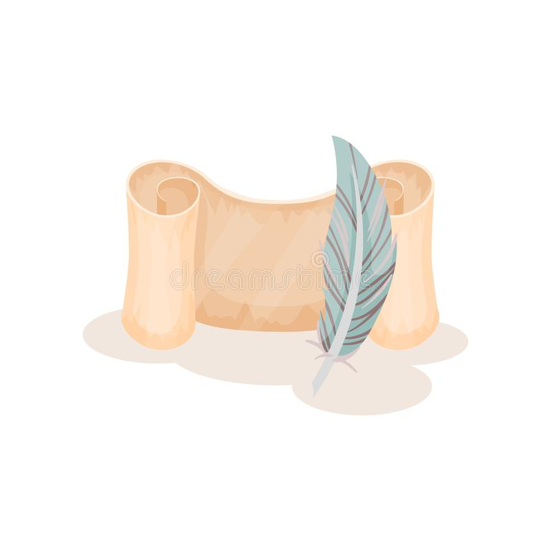 Pluma de papel vieja de la voluta y de canilla, pergamino, manuscrito, símbolos de la escritura retra, ciencia y vector del conoc stock de ilustración