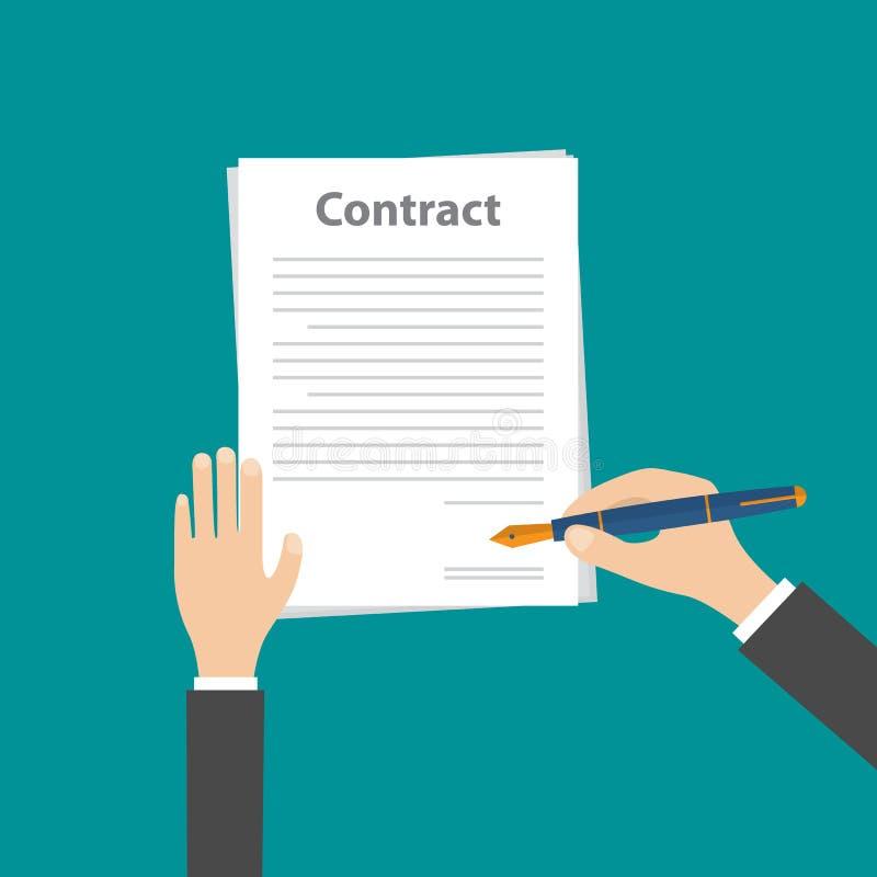 Pluma de tenencia de la mano del hombre de negocios y contrato de firma del negocio, VECTOR libre illustration
